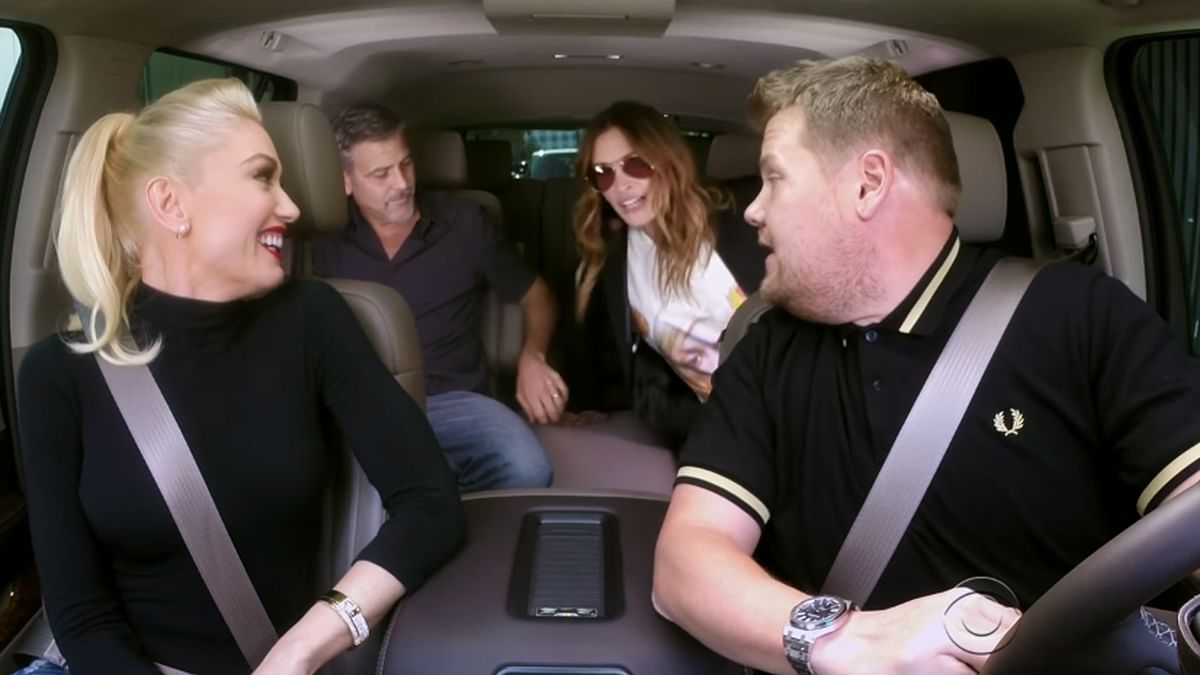 Gwen Stefani, George Clooney and Julia Roberts croon to 'Hollaback Girl' in the latest Carpool Karaoke segment of The Late Late show with James Corden.