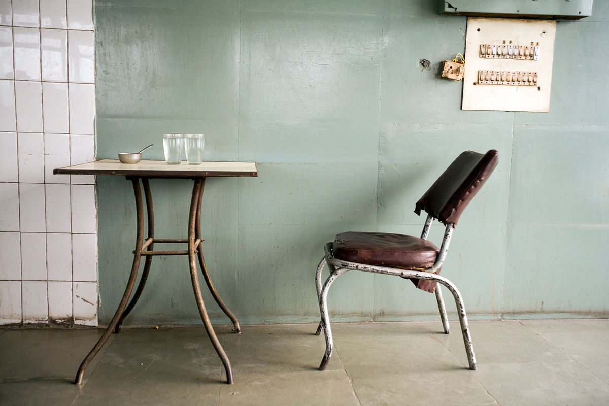 A chair at Indian Coffee House, Baba Kharak Sing Marg, New Delhi. (Photo: Sent by Stuart Freedman)