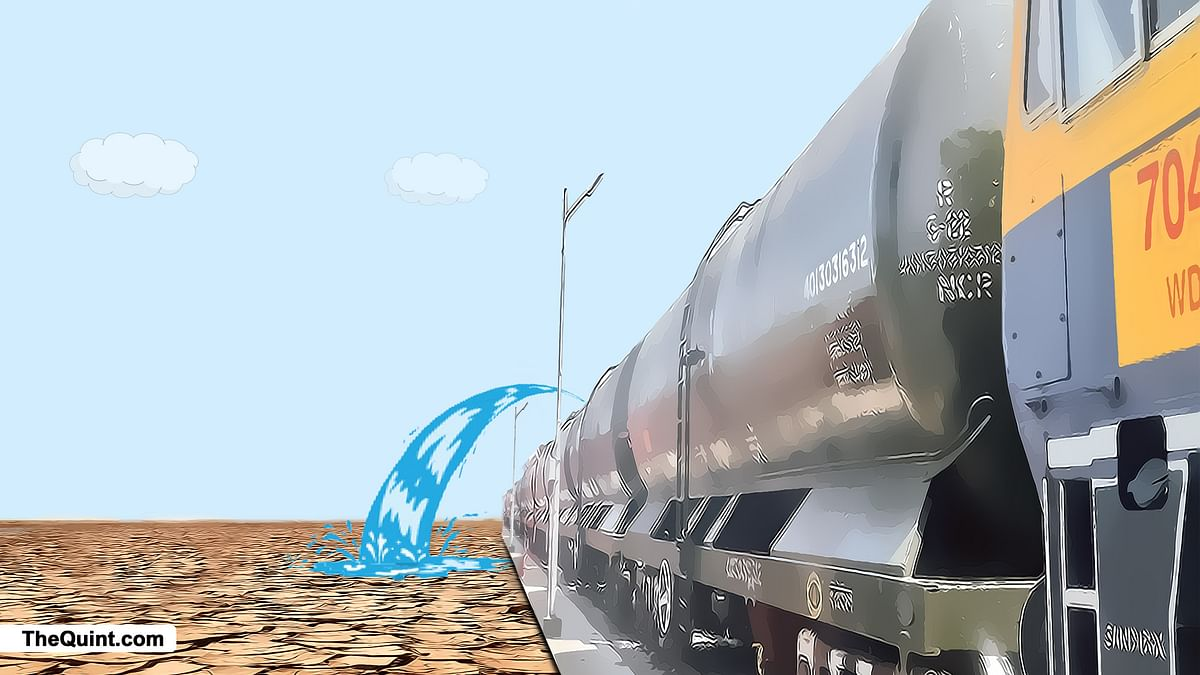 Railways had received praise for delivering water trains to Latur. (Image altered by <b>The Quint</b>)