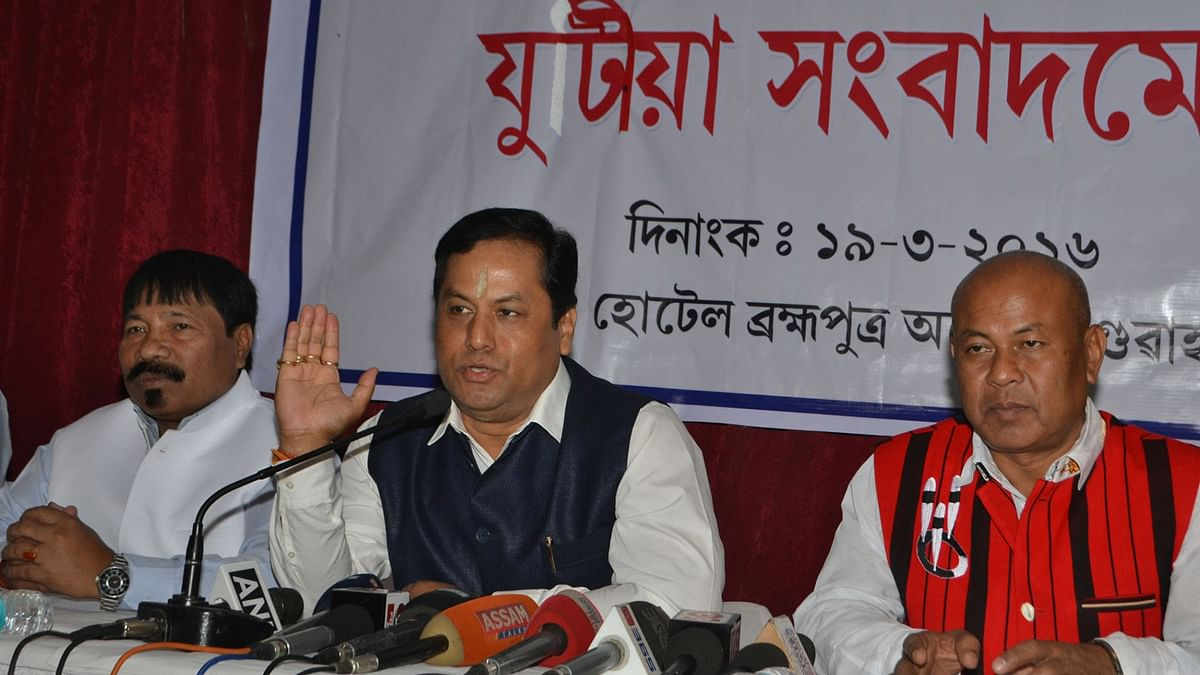 The BJP's chief ministerial candidate for Assam, Sarbananda Sonowal, addressing a press conference a few ago in Guwahati. (Photo: IANS)