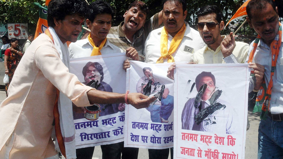 BJP workers stage a demonstration against All India Bakchod (AIB) co-founder/creator Tanmay Bhat in Patna on 31 May 2016. (Photo: IANS)