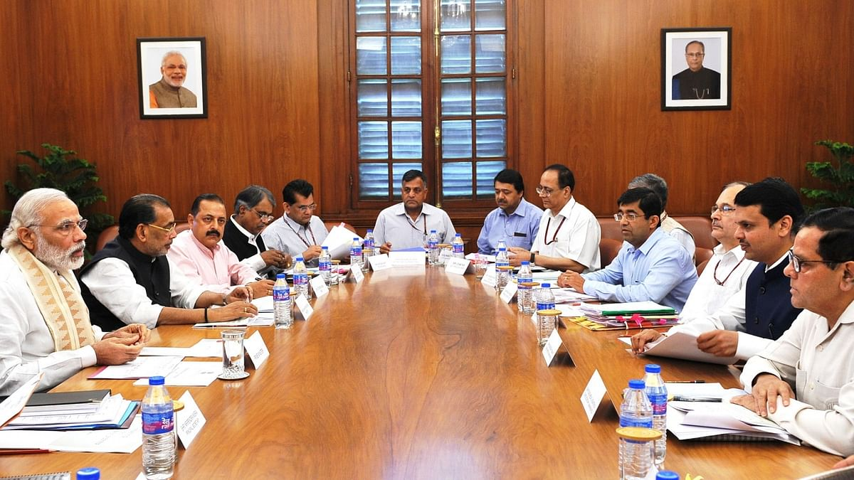 Prime Minister Narendra Modi reviews drought situation at a high level meeting with the Chief Minister of Maharashtra Devendra Fadnavis, in New Delhi. (Photo: IANS/PIB)