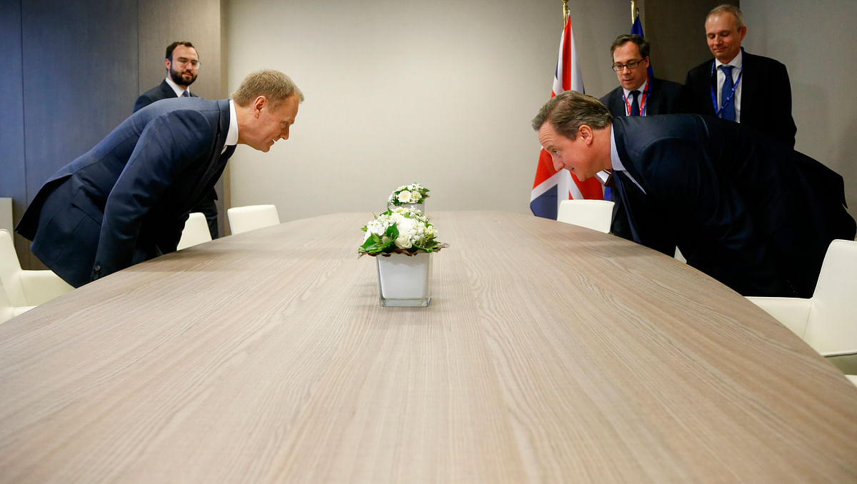British Prime Minister David Cameron, right, takes his seat with European Council President Donald Tusk on the sidelines of an EU summit in Brussels. Image used for representational purposes. (Photo: AP)