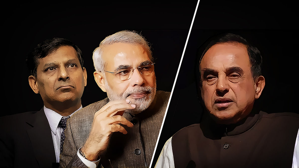 PM Narendra Modi backed outgoing RBI governor Raghuram Rajan and snubbed Subramanian Swamy in an interview to <i>Times Now</i>. (Photo: <b>The Quint</b>)