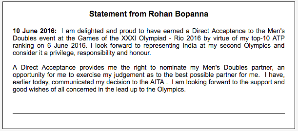 Rohan Bopanna released this statement on his social media pages on Friday, one day before the selection meeting.