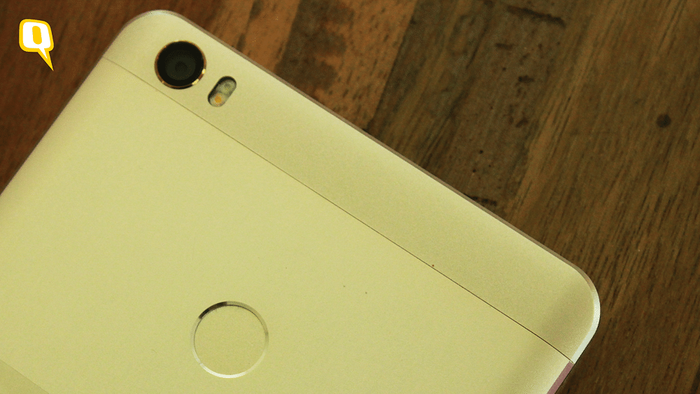 The fingerprint scanner placement on Mi Max is similar to Redmi Note 3, while the camera is slotted at Mi5's place. (Photo: <b>The Quint</b>)