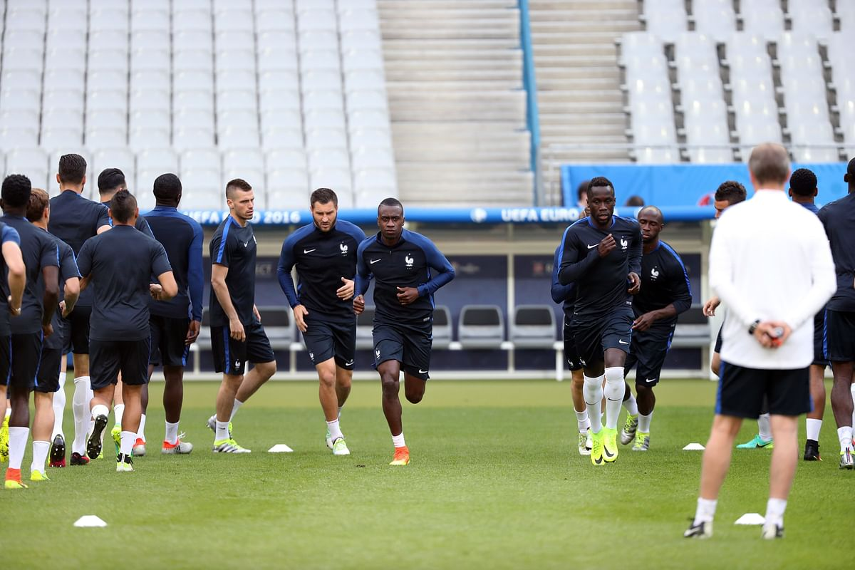 France's players participate in a training session. ( Photo: AP)