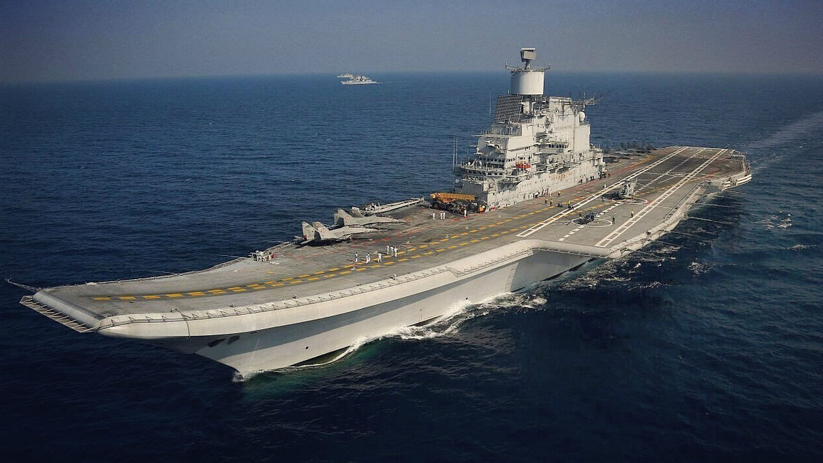 INS Vikramaditya deployed with its fighter wing and choppers in late 2015.