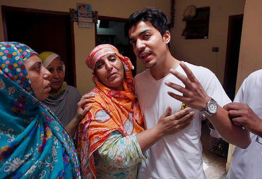 Zeenat Rafiq's husband at his home in Lahore. (Photo: AP)