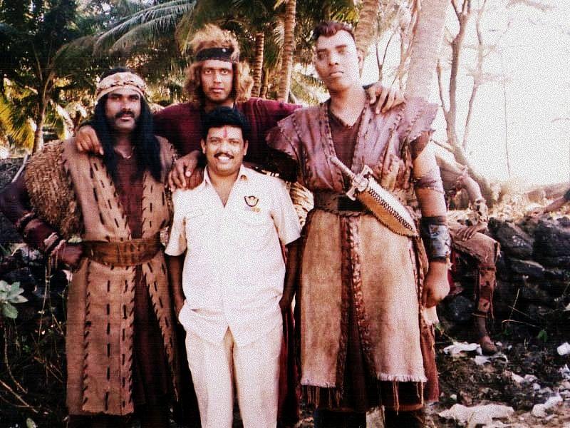 Association members with actor Jagadish in the film <i>Athbutha Dweepu</i>.