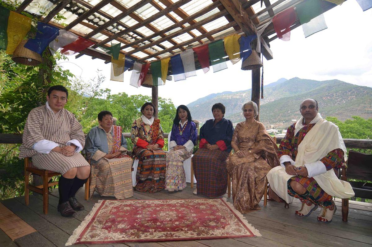 The bride and the bridegroom with the Queen of Bhutan (Photo courtesy: Bhawana Somaaya)