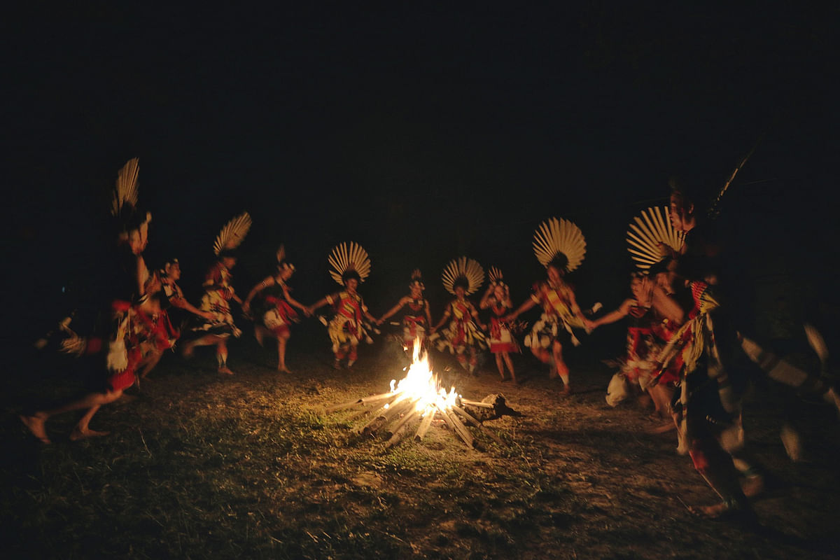 A group of teenagers from the Rengma tribe dance in Nagaland.  (Photo: Souvid Datta)