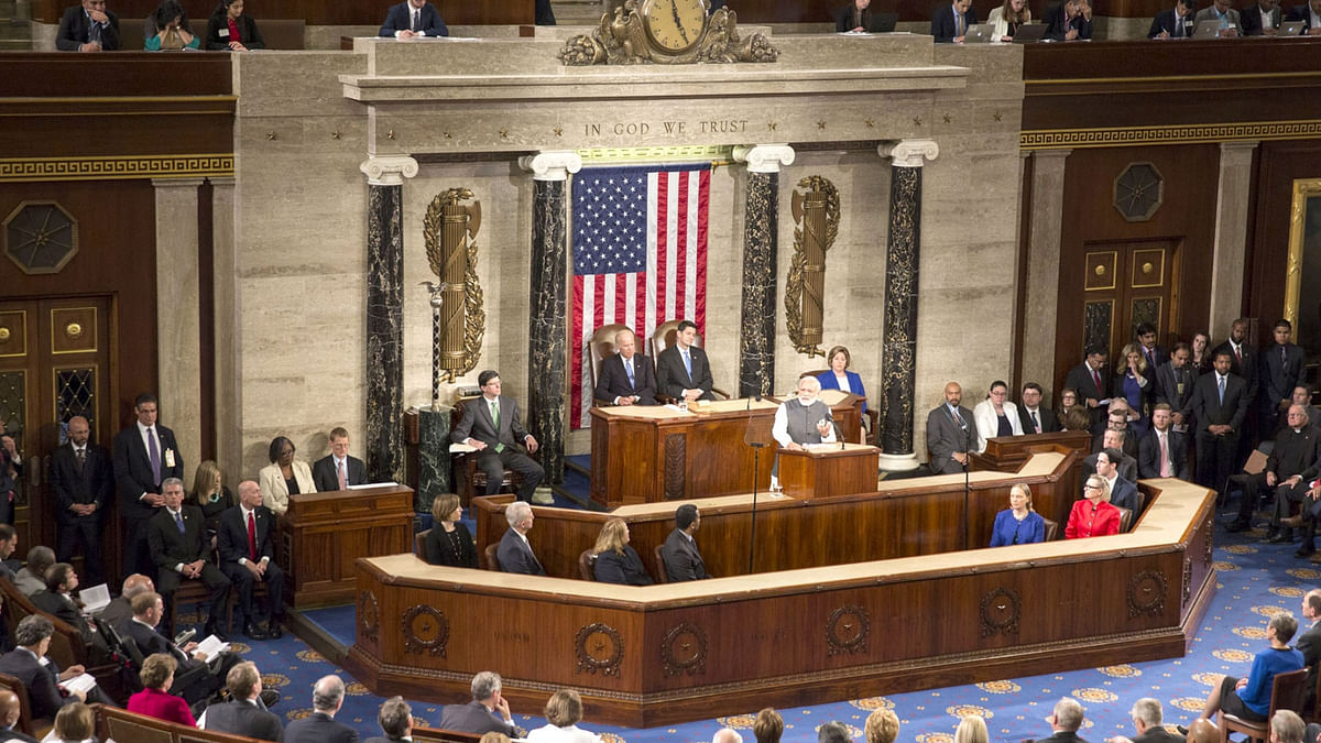 Prime Minister Narendra Modi addressing  the joint session of the US Congress, in Washington DC, USA on June 8, 2016. (Photo: IANS/PIB)