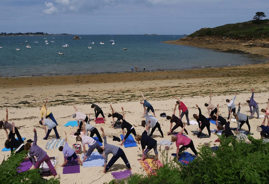 "Yoga at a beach in France. (Photo Courtesy: Twitter/ <a href=""https://twitter.com/IndianDiplomacy"">Indian Diplomacy</a>)"