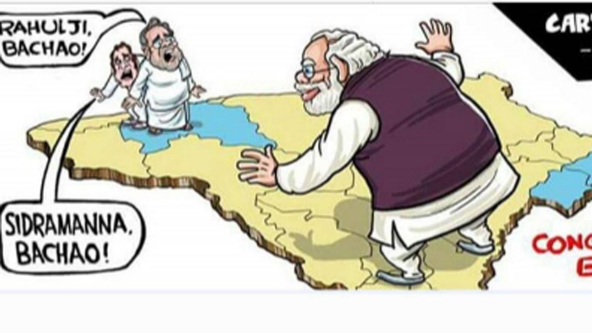 """Satish Arya's cartoon was removed by the Municipality of Kundapura in Karnataka. (Photo: Twitter/<a href=""""https://twitter.com/satishacharya""""> Satish Arya</a>)"""
