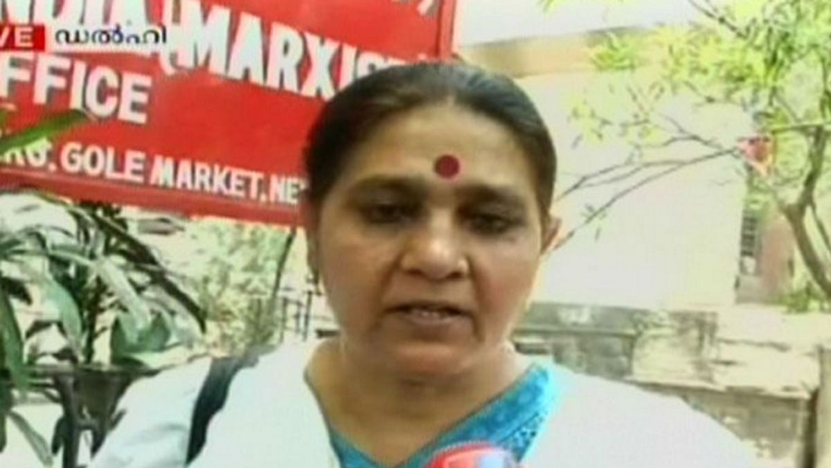 """Women's rights activist and CPI(M) leader Jagmati Sangwan. (Photo: Twitter <a href=""""https://twitter.com/manoramaonline"""">@manoramaonline</a>)"""
