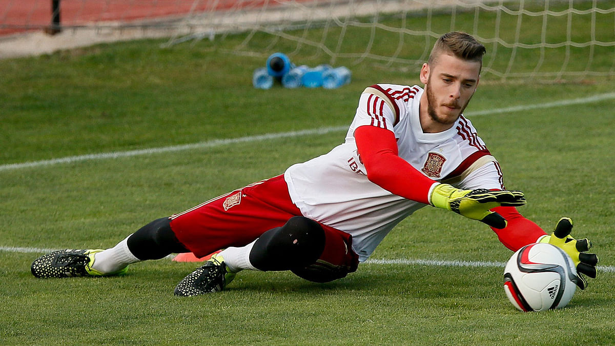 Spanish national soccer team goalkeeper David De Gea in action during a training session. (Photo: IANS)