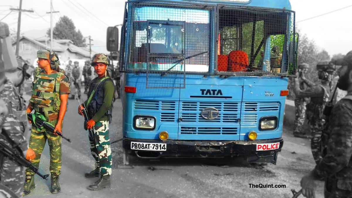 The CRPF bus that was attacked by militants in Pampore of Jammu and Kashmir on June 25, 2016. (Photo: IANS)