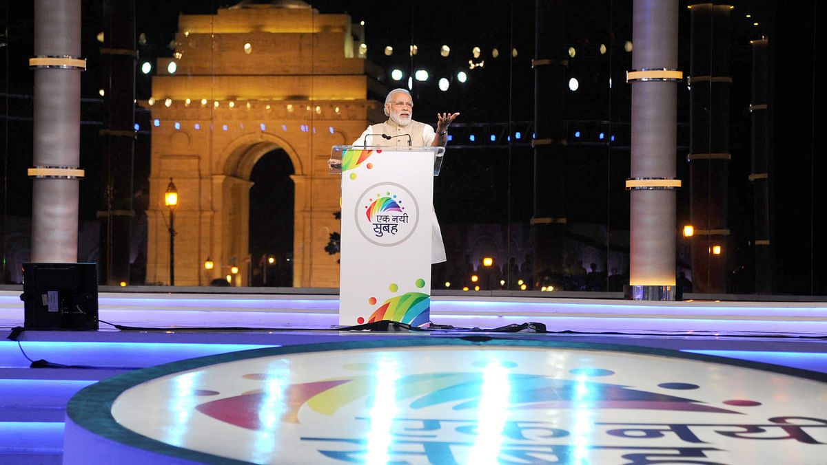 """Prime Minister Narendra Modi addresses at the """"Ek Nayi Subah"""" programme organised on completion of two years of NDA government, at India Gate, in New Delhi on May 28. (Photo: IANS/PIB)"""