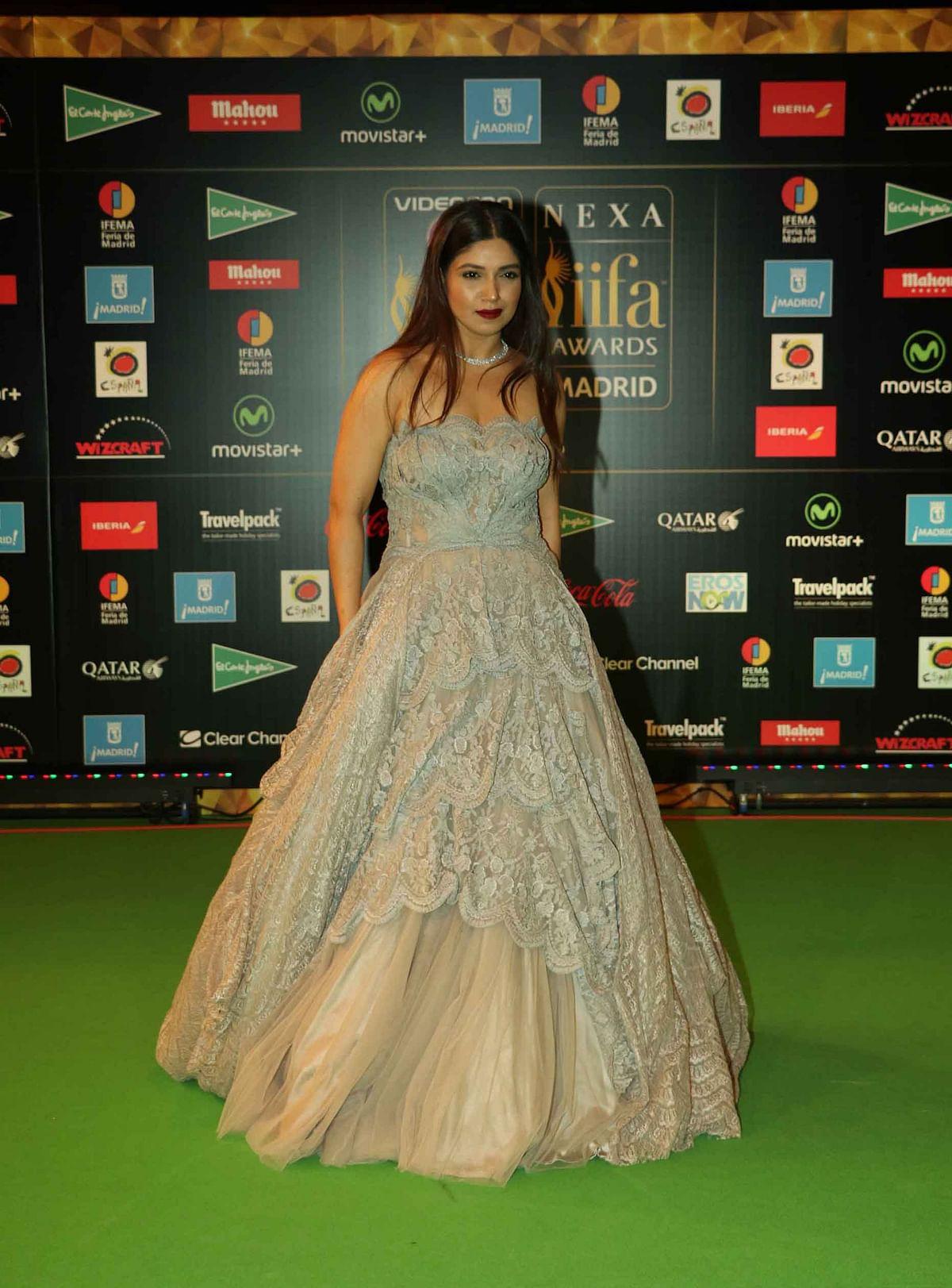 Bollywood actress Bhumi Pednekar poses for photographers at the International Indian Film Academy (IIFA) Rocks Green Carpet (Photo: AP)