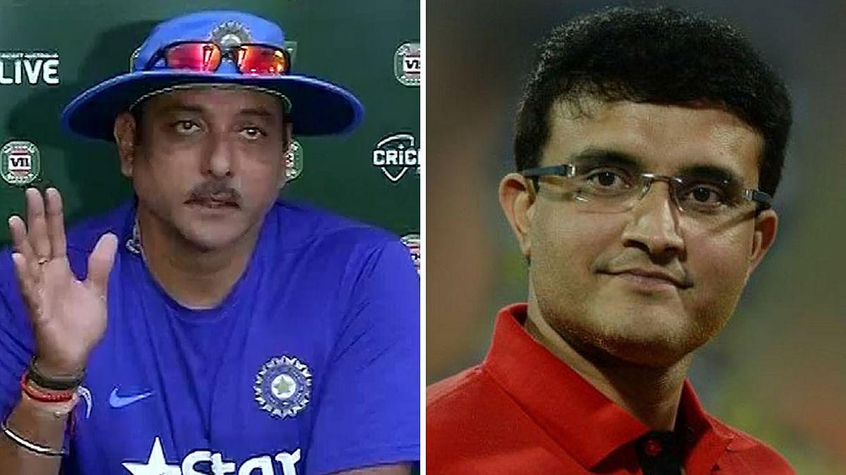 "Ravi Shastri (L) and Sourav Ganguly (R). (Photo: ANI/<a href=""https://twitter.com/CricWizz"">CricWizz Twitter</a>)"