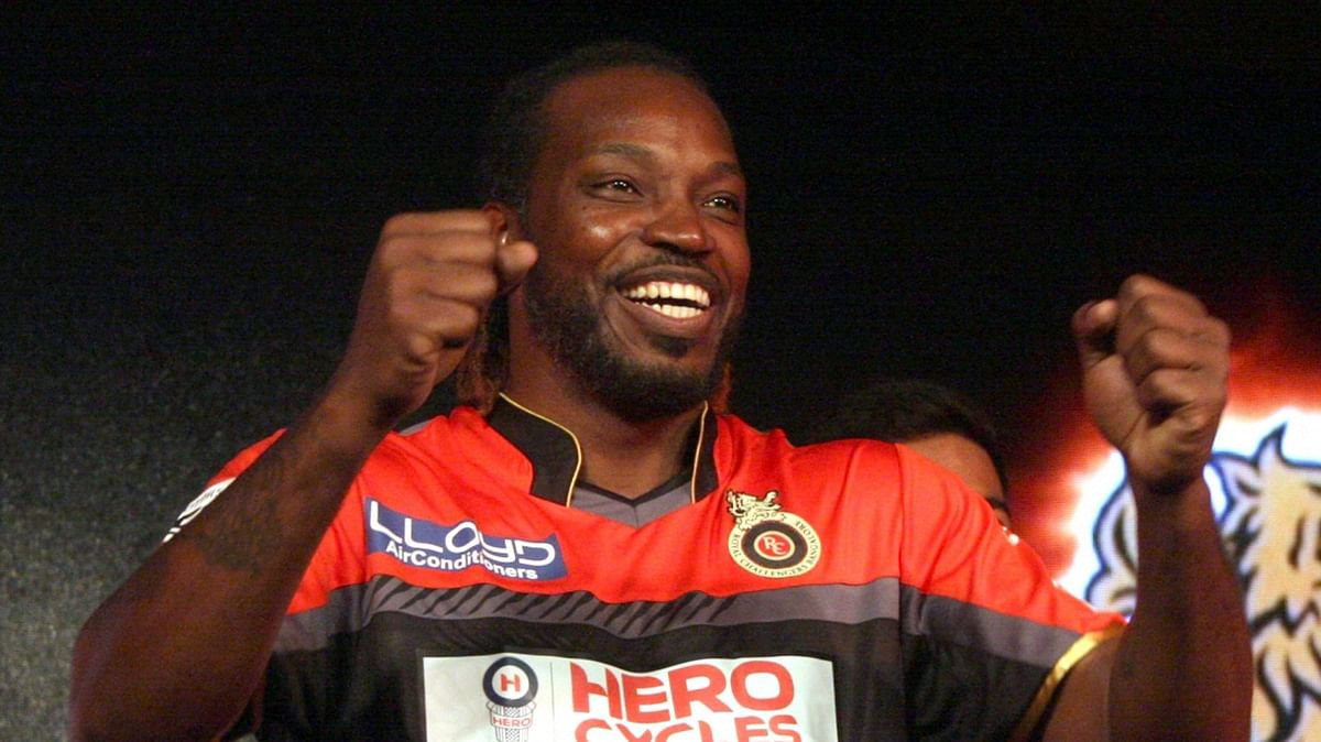 Royal Challengers Bangalore player Chris Gayle during a programme organised to launch the team jersey for IPL-2016 in Bengaluru on 7 April  2016. (Photo: IANS)
