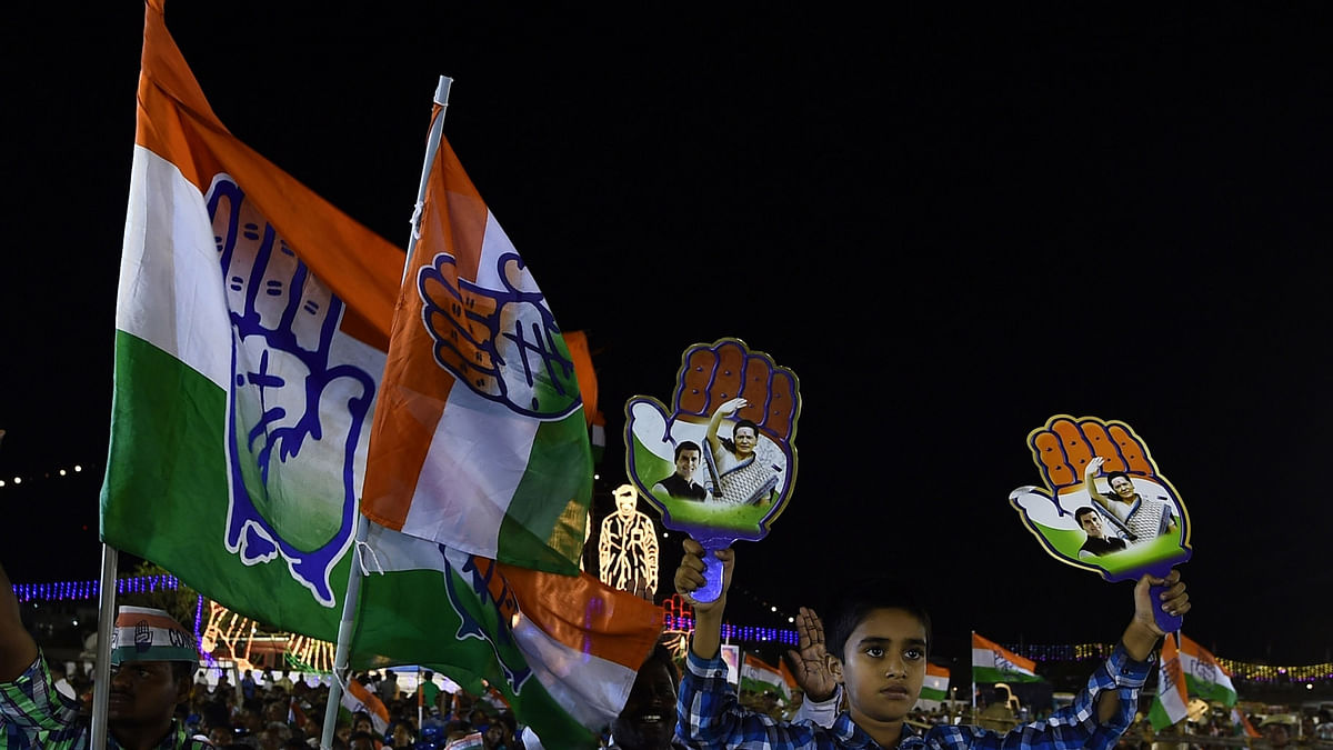 Congress supporters at an election rally addressed by party vice-president Rahul gandhi,  in Chennai on May 7, 2016. (Photo: IANS)