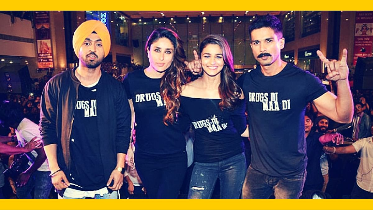 Diljit Dosanjh, Kareena Kapoor, Alia Bhatt and Shahid Kapoor at a promotional event for <i>Udta Punjab</i> (Photo: Yogen Shah; altered by The Quint)