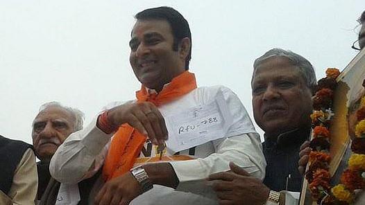 """BJP MLA Sangeet Som. (Photo Courtesy: <a href=""""https://twitter.com/sangeetsinghsom/media"""">Twitter/@sangeetsinghsom</a>)"""