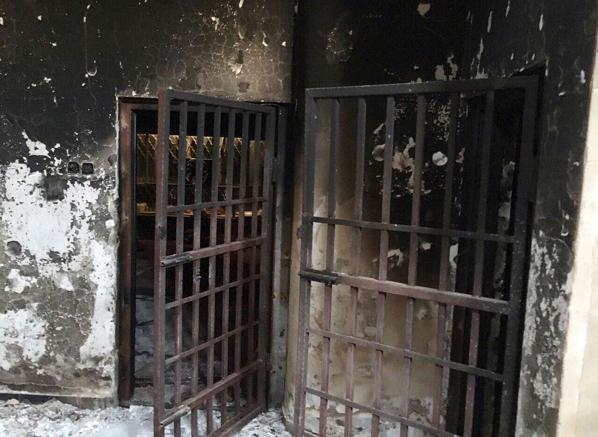 A recently discovered burned prison belonging to Islamic State militants in Fallujah. (Photo: AP)
