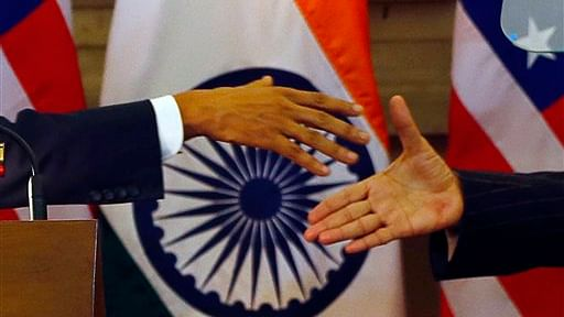 FILE - In this Jan. 25, 2015 file photo, U.S. President Barack Obama, left, and Indian Prime Minister Narendra Modi prepare to shake their hands after they jointly addressed the media in New Delhi, India. (Photo:AP)