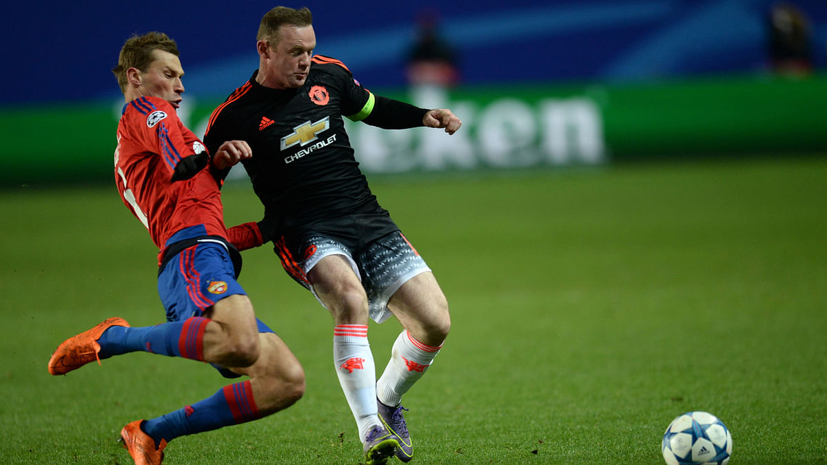 Manchester United vies with CSKA Moscow during their Group B UEFA Champions league match. (Photo: IANS)