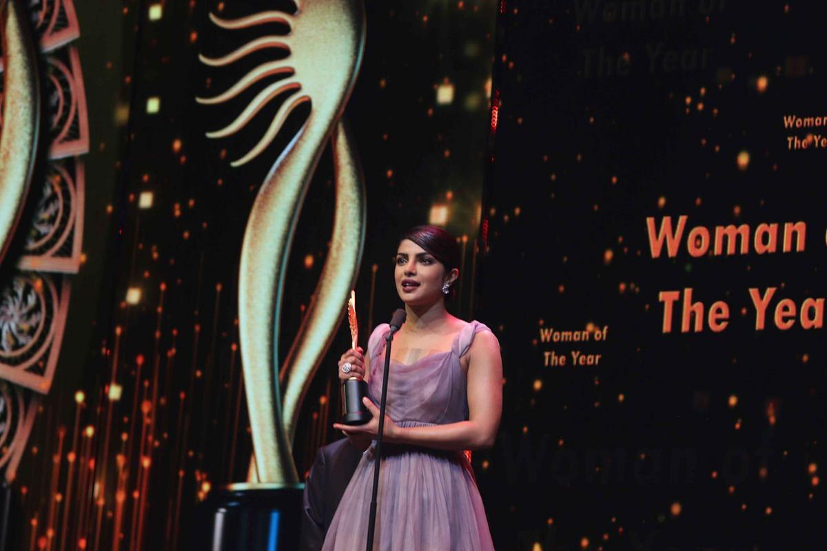 Priyanka Chopra while accepting the Woman of the Year award. (Photo: AP)