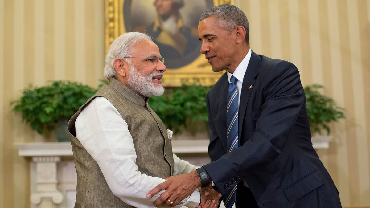 US President Barack Obama and Indian Prime Minister India Narendra Modi shake hands before their meeting in the Oval Office of the White House. (Photo: AP)