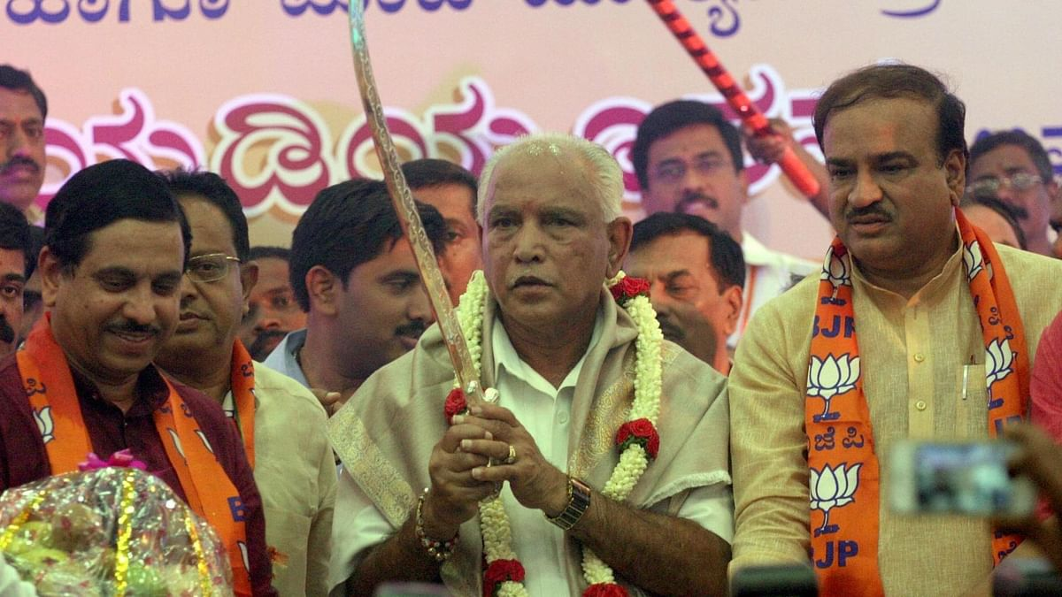 BJP leader BS Yeddyurappa takes charge as Karnataka BJP chief in Bengaluru on 14 April 2016.