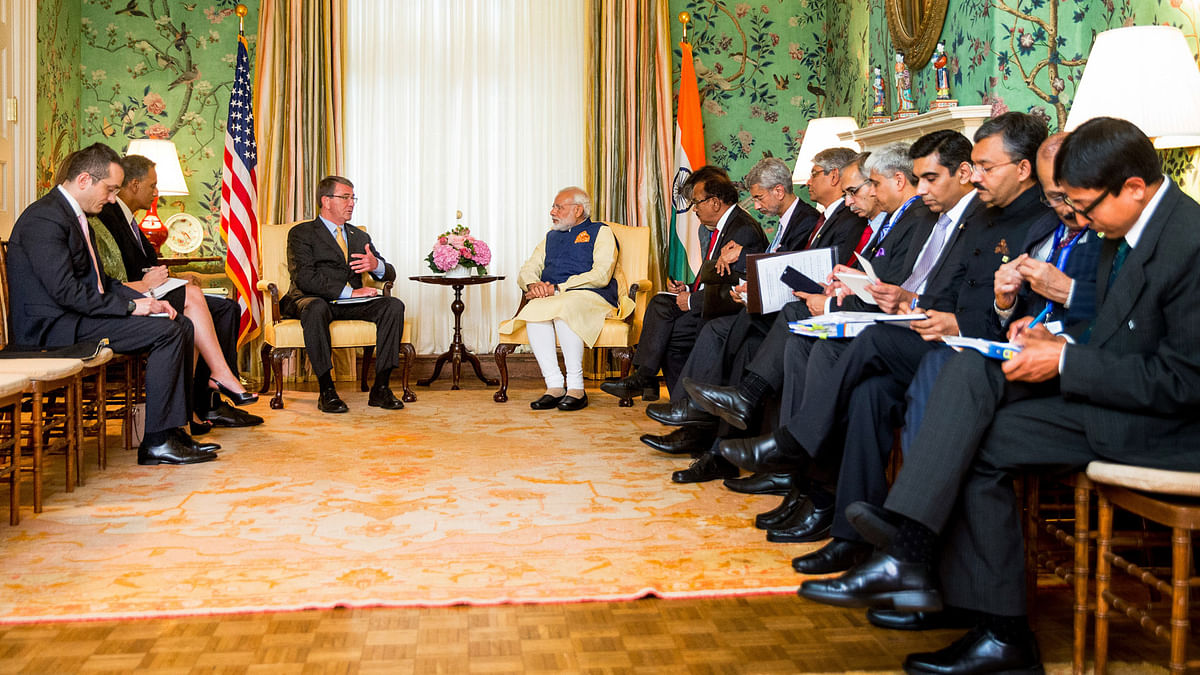American Defence Secretary Ashton Carter  with Prime Minister Narendra Modi at the Blair House in Washington DC, Tuesday, June 7, 2016. (Photo: AP)