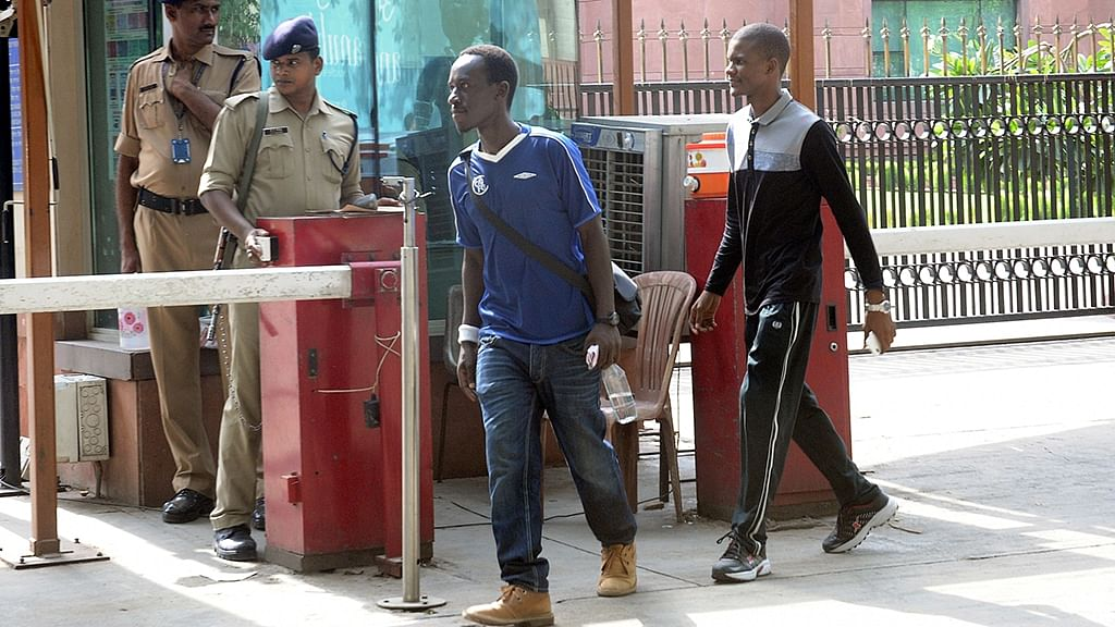 African student come out after meeting External Affairs Minister Sushma Swaraj regarding increasing attacks on them in New Delhi, on May 31, 2016. (Photo: IANS)