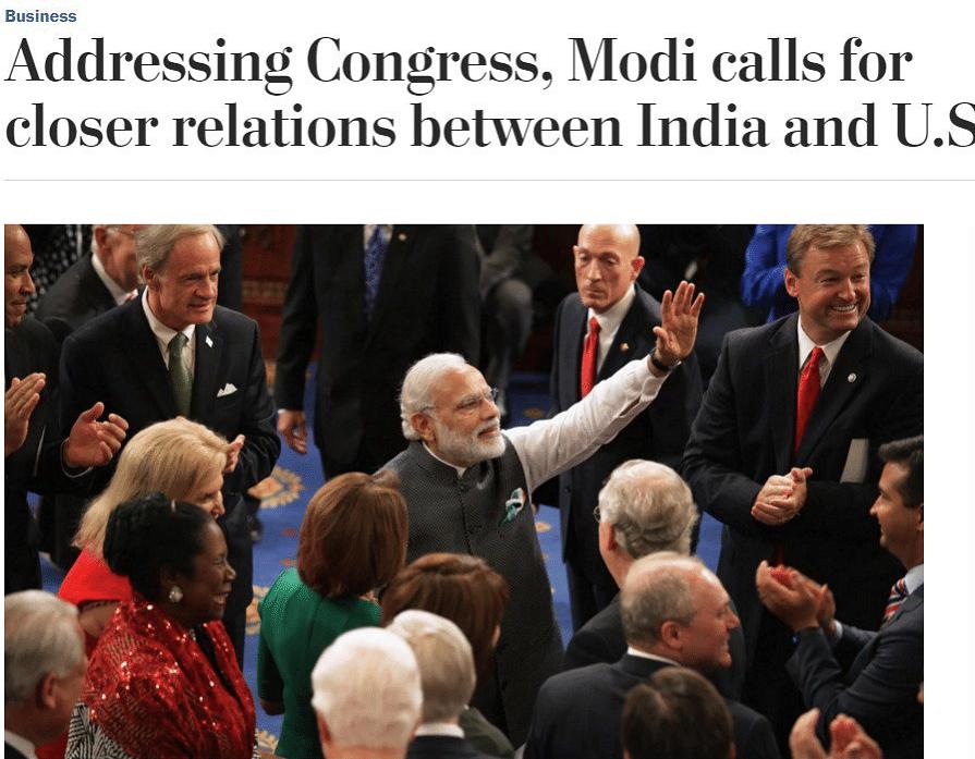 "The Washington Post's take on Modi's Speech (Photo Courtesy: <i><a href=""https://www.washingtonpost.com/business/economy/addressing-congress-modi-calls-for-closer-relations-between-india-and-us/2016/06/08/97175724-2d7f-11e6-9b37-42985f6a265c_story.html?postshare=5701465411020063&amp;tid=ss_tw"">The Washington Post</a></i>)"