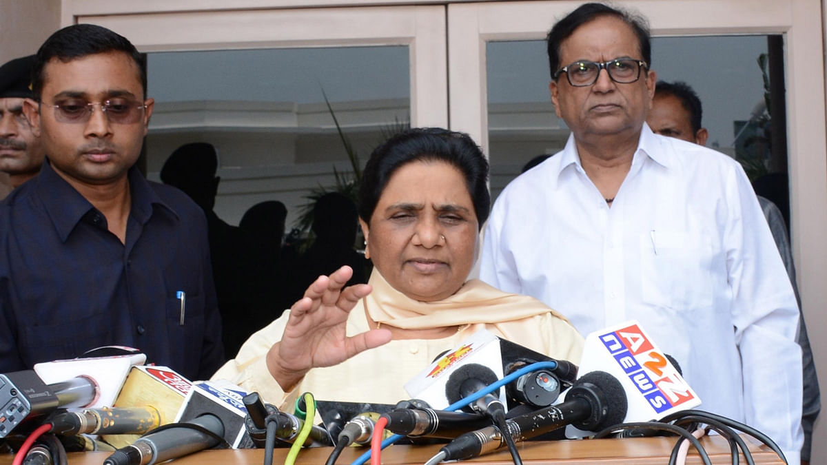 BSP chief Mayawati addresses a press conference after party's legislative party meeting in Lucknow on June 25, 2016. (Photo: IANS)