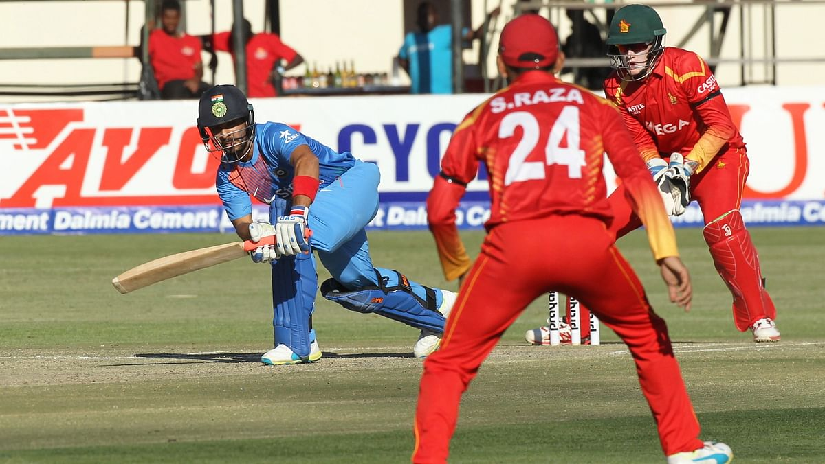 Indian batsman Mandeep Singh plays a shot during the the T20 International between against Zimbabwe at Harare Sports Club, in Harare on Monday, June, 20, 2016. (Photo: AP)