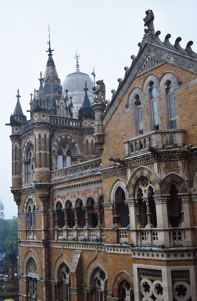 Mumbai's Hogwarts: Gargoyles, lions, tigers and peacocks watch over VT's Neo-Gothic pointed arches, turrets, glazed windows and wrought iron work. (Photo: <b>The Quint</b>/Pallavi Prasad)