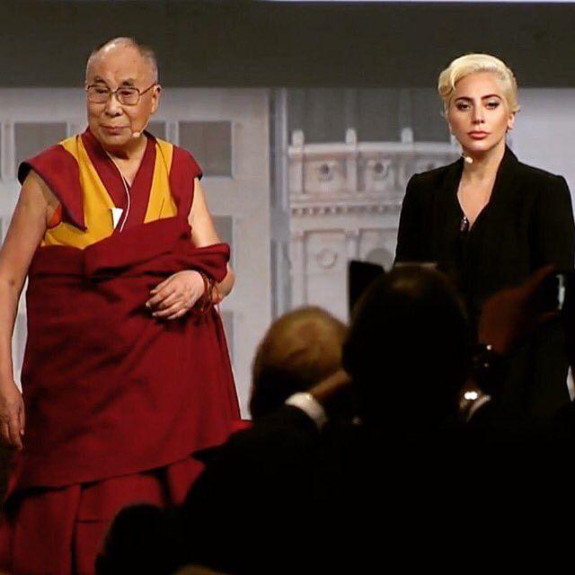 Lady Gaga with the Dalai Lama (Photo: Twitter)