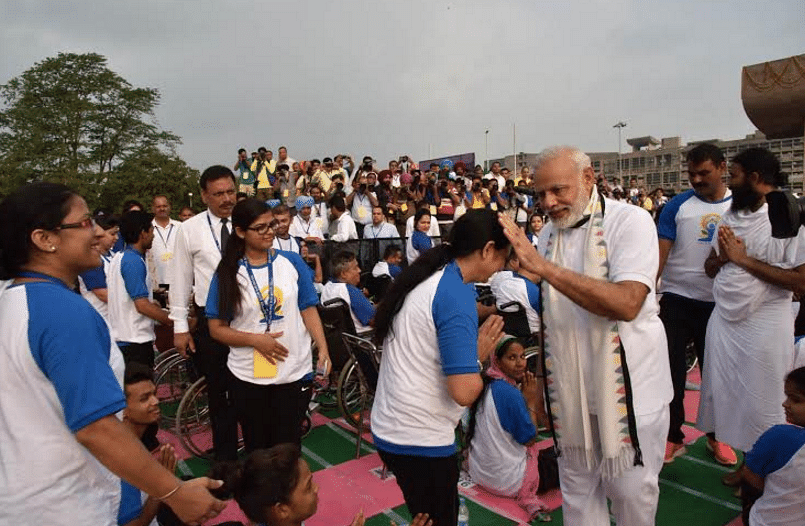Addressing the crowd, PM Modi has said that the day is associated with good health. (Photo: PIB)