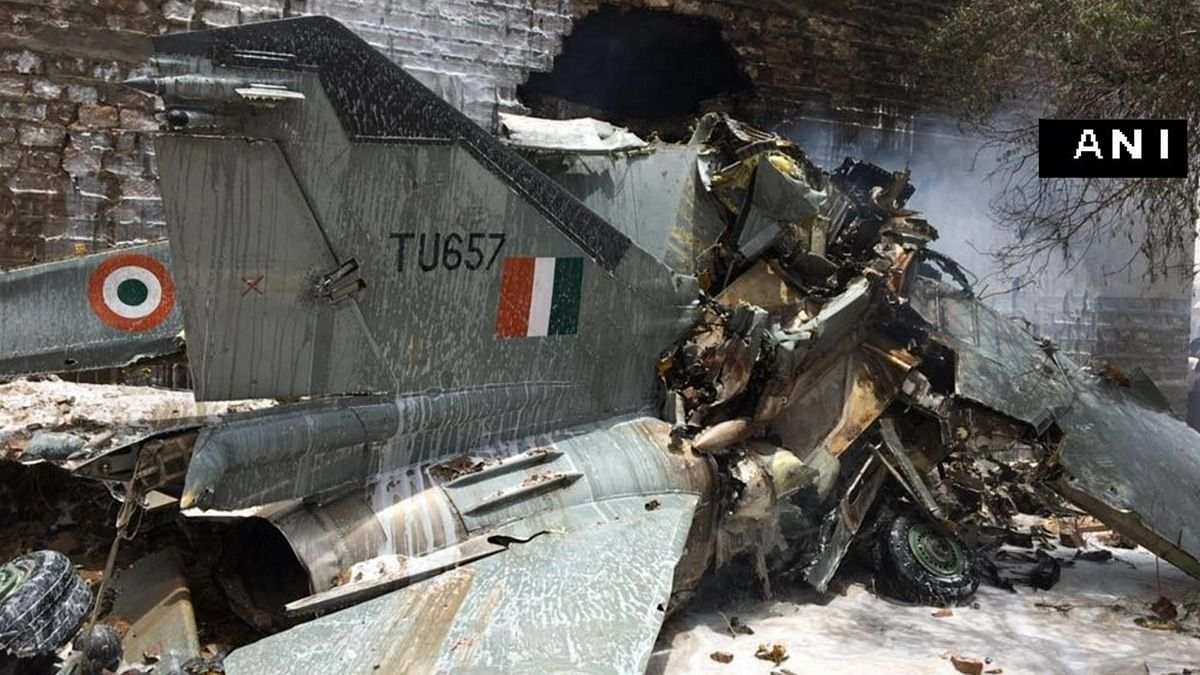 The crash site of the MiG-27 aircraft in Jodhpur, Rajasthan on Monday, 13 June 2016. (Photo Courtesy: ANI)