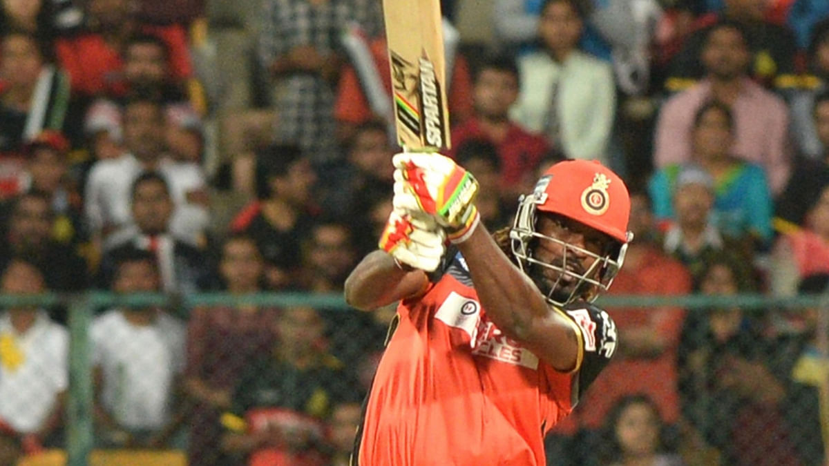 Chris Gayle  in action during an IPL match at the M Chinnaswamy Stadium in Bangalore on May 18, 2016. (Photo: IANS)