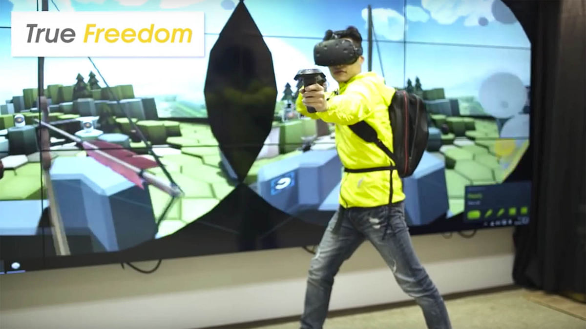Don't feel scared of falling off tangled wires with VR Backpack. (Photo Courtesy: YouTube/Zotac)
