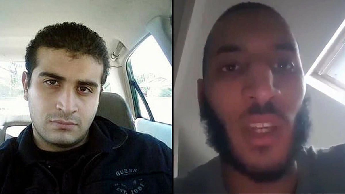 From left to right,  Omar Mateen, who authorities say killed dozens of people in Orlando and Larossi Abballa, responsible for knifing a French police couple. (Photo: AP)