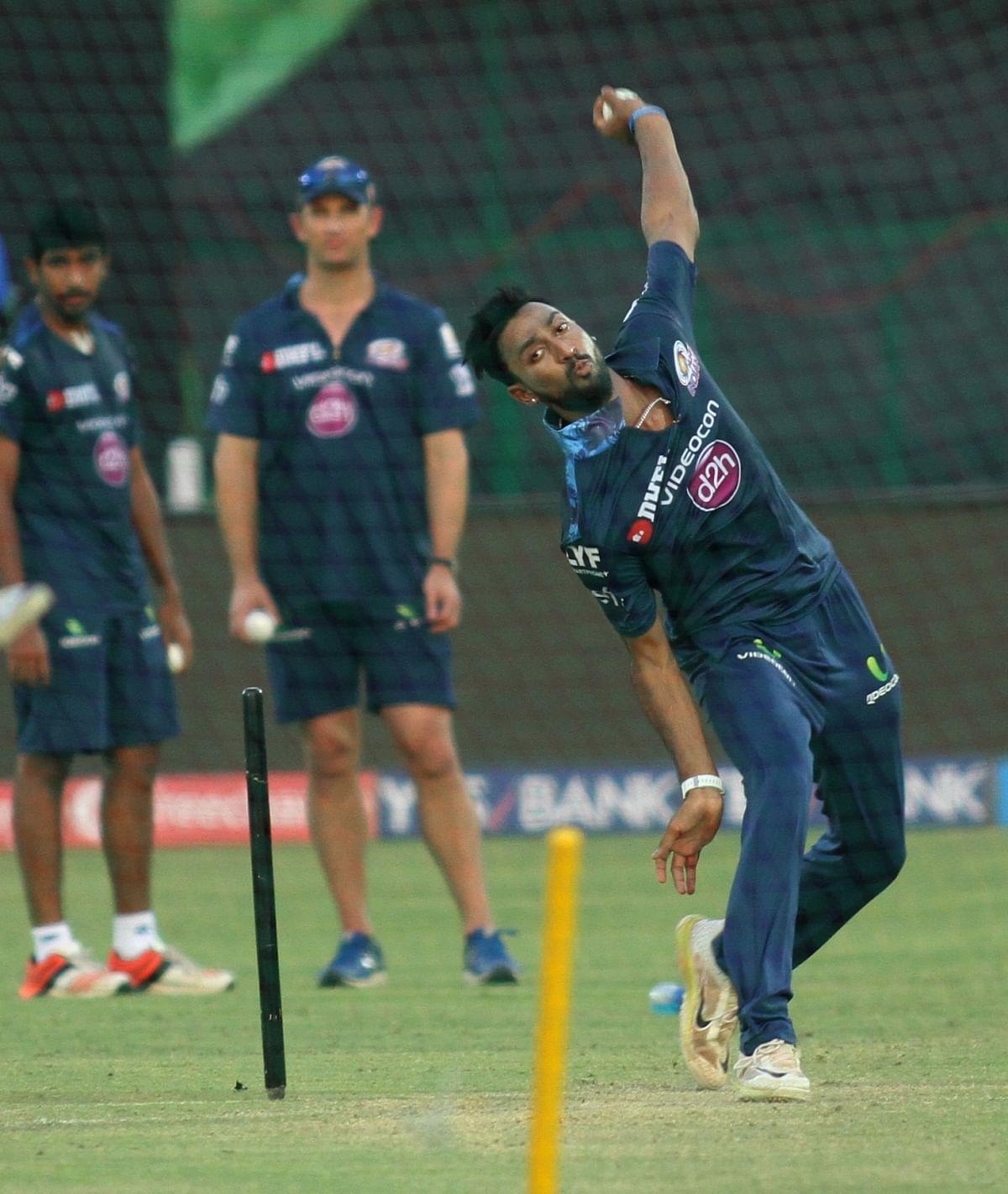 Krunal Pandya of the Mumbai Indians at a practice session. (Photo: IANSPhoto)