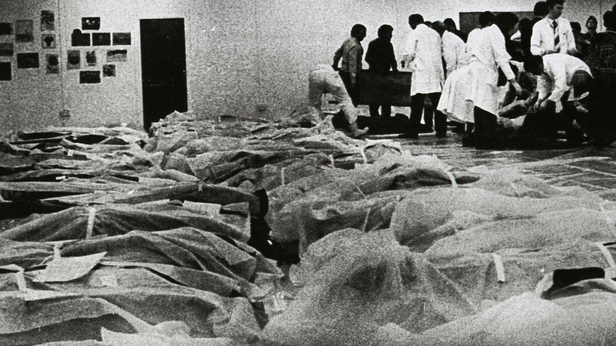 Victims of the Air India jumbo jet which crashed 150 miles off the coast of Cork, Ireland at the Cork Regional Hospital on 24 June 1985.