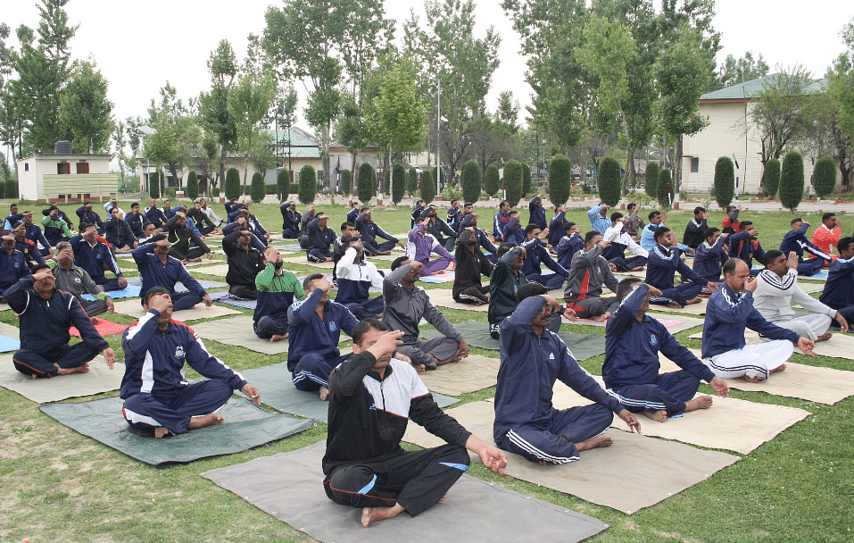 "Yoga training session at Jammu and Kashmir. (Photo: Twitter/ <a href=""https://twitter.com/DRDO_India"">DRDO)</a>"